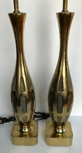 Pair Of Vintage Brass Lamps Westwood Laurel Mid Century Modern
