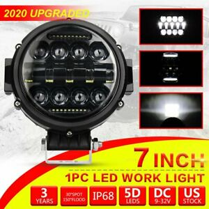 1pc 7 Inch Led Work Light Bar 120w Round Driving Fog Lamp Spot Drl Offroad Truck