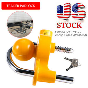 Hitch Lock Universal Coupler Trailer Lock Ball For 1 7 8 2 2 5 16 With 2 Keys