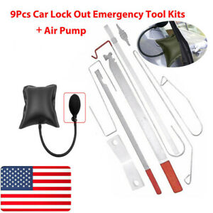 10pcs Car Door Open Unlock Kit Set Key Lock Out Emergency Opening Air Pump Wedge