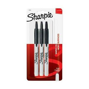 Sharpie Fine Point Retractable Markers Black 3 Pack Permanent Marker Art Office
