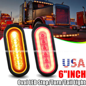 2x Trailer Truck 6 Led Sealed Red Yellow 6 Oval Stop Turn Tail Light Universal