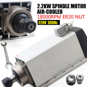 2 2kw Spindle Motor Er20 Air Cooled 18000rpm 220v Cnc Engraving 304 Stainless Us