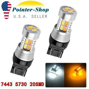 2pcs 7443 7440 7444 Led Turn Signal Switchback Drl Parking Light Bulbs 20 Smd