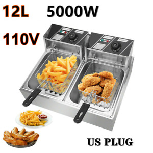 Stainless Steel Electric Fryer Deep Dual Tank Commercial restaurant 5000w 12l Us