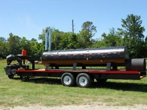 2010 5 X 18 Open Bbq Smoker On A 28 Gooseneck Tailgating Trailer For Sale I