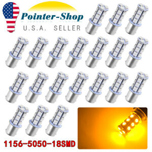 20x 1156 Ba15s 18 Smd 5050 Yellow Amber Tail Turn Signal 18 Led Light Bulb Lamp