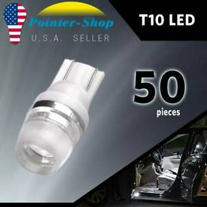 50x Pure White High Power T10 Wedge Led Dome License Light Bulbs W5w 192 168 194