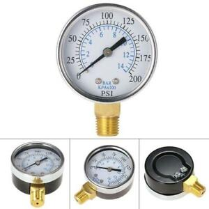 0 200psi 0 14 Bar Air Oil Water Pressure Gauge 1 4 Npt Manometer Side Mount