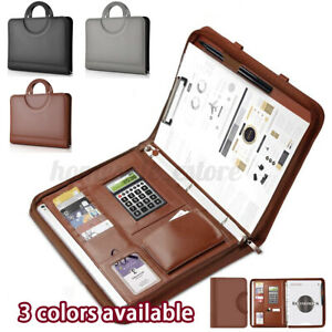 A4 Conference Folder Zip Folio Case Leather Business Document Case Bag