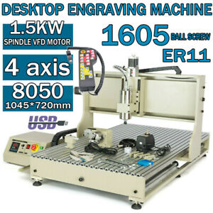 Usb 8050 4axis Cnc Router Engraver Engraving Wood Milling drilling Machine 1500w