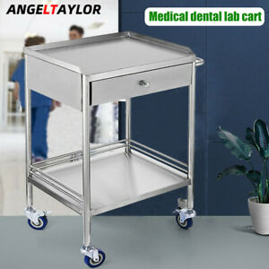 Medical Dental Lab Cart Trolley Stainless Steel Two Layer Drawer Hospital clinic