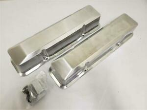 Small Block Chevy Tall Smooth Polished Aluminum Valve Covers No Holes Sbc 305