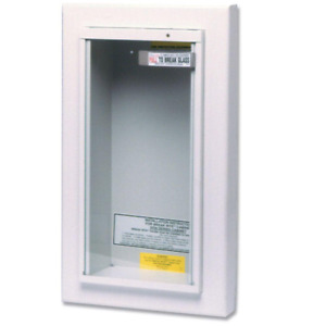 10 Lb Fire Extinguisher Cabinet Semi recessed Wall Mounted Tempered Glass Cover