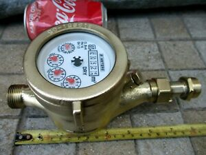 Vintage All True Brass Museum Functional Watermeter Water Meter 3 4 Standart