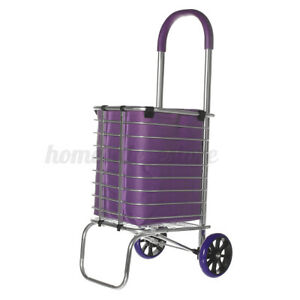 2 Wheels Folding Shopping Cart Basket W Wheels For Laundry Grocery Travel