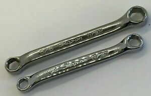 Snap On Tools Set Offset Double Box End Wrench Flank Drive Lot Sae Mini Midget