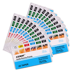 Azdent Dental Gutta Percha Points 0 02 15 40 120 Points Color Coded Root Canal