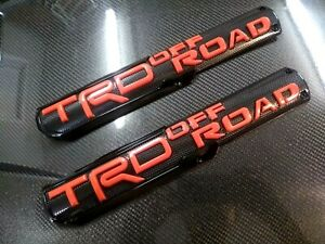 2x Black Red Emblem Badge Trunk For Toyota Trd Offroad Tacoma 4runner Tundra