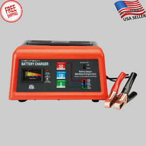 Battery Charger Engine Starter 10 2 50 Amp 12 Volt Car Lawn Mower Motorcycle Usa