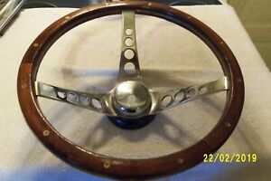 Vintage 13 Wood Grain Rat Rod Steering Wheel With Chevy Ford Adapter
