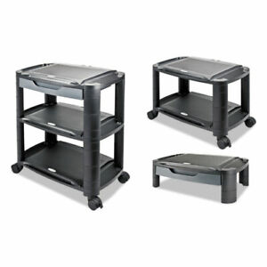 3 In 1 Storage Cart Stand Monitor Printer Utility Shelf Office Use Black Gray