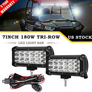 2x 7 Tri Row 180w Led Light Bar Pod Flood Offroad For Polaris Sportsman Atv Utv