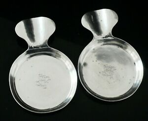 Pair Sterling Silver Hand Wrought Ash Trays The Kalo Shop 20th Century American