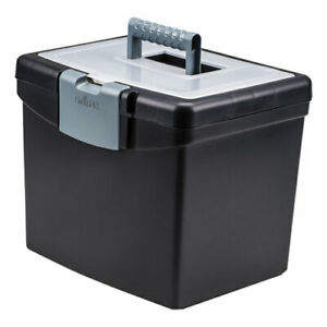Large File Tote Box With Organizer Lid Portable Paper Files Home Office Storage