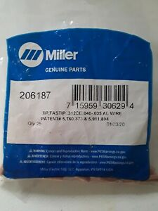 25 Genuine Miller 206187 035 040 Mig Welding Contact Tips Fastip Spoolmatic