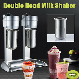 Milk Shake Machine Double Head Mixer Drink Mix Blender Stainless Steel 300w 1l