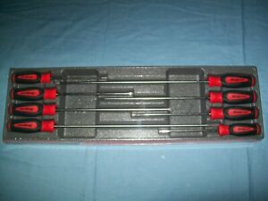 New Snap on Instinct Red Soft Handled 8pc Cabinet Screwdriver Set Sgdxl80br