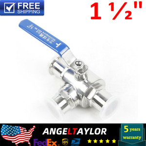 Sanitary 304 Stainless Three way Ball Valve Tri clamp Connection T type 1 1 2