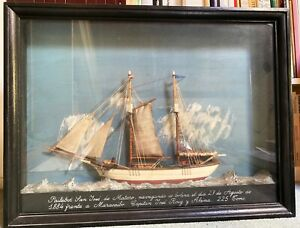 Vintage Painted Diorama Shadow Box Ship Model Circa First Half Of 20th Century