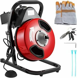 Vevor 50 By 1 2 Electric Drain Auger W 4 Cutter Foot Switch Drain Cleaner
