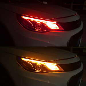 60cm Red To Amber Drl Led Strip Light Daytime Running Sequential Turn Signal