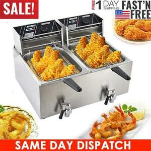 Us 3600w 16l Stainsteel Electric Deep Fryer Dual Tank Commercial Restaurant Home