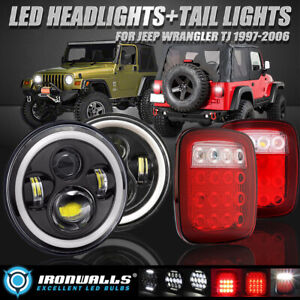 For 97 06 Jeep Wrangler Tj 4pcs Led Headlights Drl Angel Eyes Tail Lights Kit