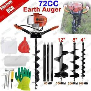 72cc Post Hole Digger 4hp Gas Powered W 4 8 12 Power Engine Auger Bits 4px