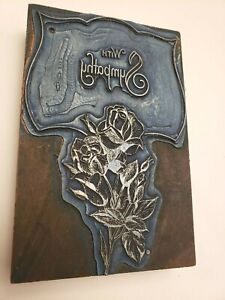 Vintage Roses With Sympathy Letterpress Wood Block Ink Stamp Neat Piece