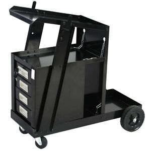 Mig Welding Trolley Tig Plasma Cutter Welder Cart W 4drawers Workshop Organiser