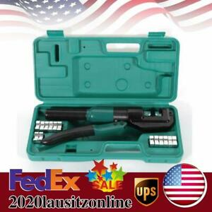 Hydraulic Wire Terminal Crimper 5 Ton Battery Cable Lug Crimping Tool W dies Us