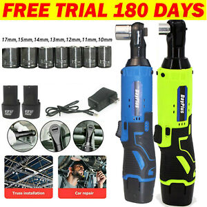 3 8 Cordless Ratchet Right Angle Wrench Impact Power Tool 2 Battery 7 Socket