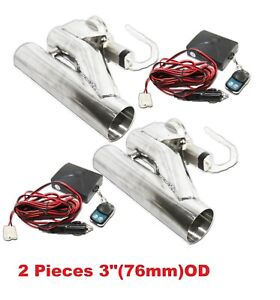 2x3 76mm Electric Y Pipe Exhaust Downpipe Cutout E Cut Out Dual Valve Remote