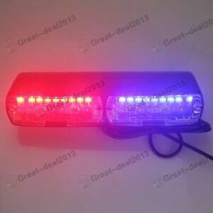 16 Led Blue Red Strobe Flash Light Dash Police Emergency Flashing Lamp