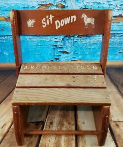 Vintage 1960 S Children S Wooden Chair Step Stool Combo Sit And Stand 12 Wide