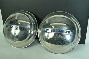 1947 1948 Oem Ford Super Deluxe Coupe Poverty Dog Dish Hubcaps Block Script