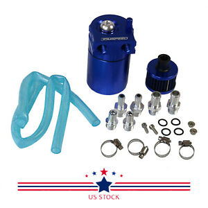 Blue Oil Catch Reservoir Breather Can Tank filter Kit Cylinder Aluminum Engine