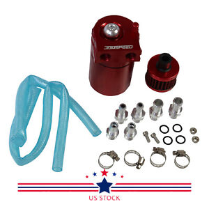 Red Oil Catch Reservoir Breather Can Tank Filter Kit Cylinder Aluminum Engine
