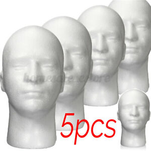 5 Pcs 10 6 White Male Foam Mannequin Head Model Wig Glasses Hat Display Stand
